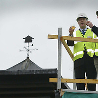 Free to use photograph of the topping out ceremony at the Famous Grouse Experience at the Glenturret Distillery in Crieff... Pictured Scots rugby player Andy Nicol with Derek Brown, Director Brands Heritage<br />see press release by Jaki Martin @ Edrington Group Tel: 01738 493640<br /><br />Picture by Graeme Hart.<br />Copyright Perthshire Picture Agency<br />Tel: 01738 623350  Mobile: 07990 594431
