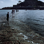 Flooded path to St Michael's Mount, St. Michael's Mount, England (April 2006)
