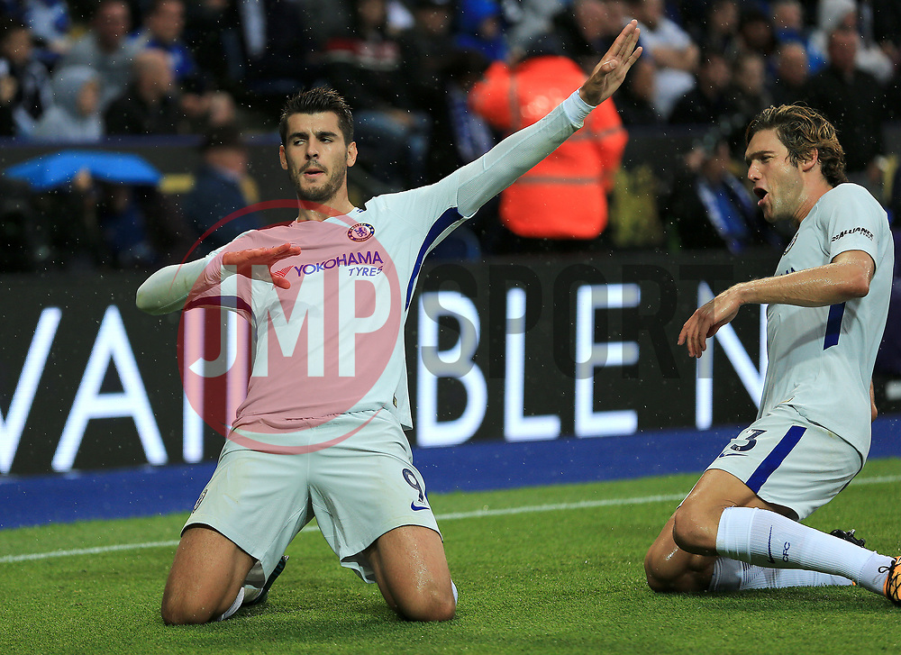 Alvaro Morata of Chelsea celebrates after opening the scoring (0-1) - Mandatory by-line: Paul Roberts/JMP - 09/09/2017 - FOOTBALL - King Power Stadium - Leicester, England - Leicester City v Chelsea - Premier League