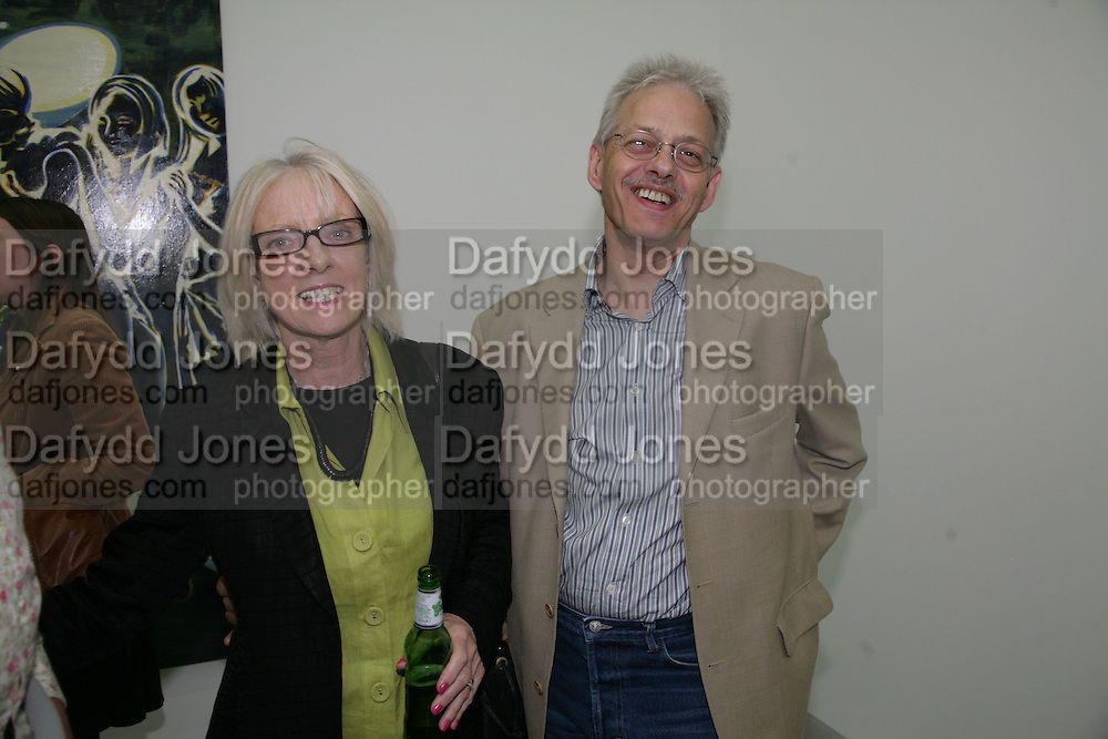 JEAN STONER AND STEVE HUTCHINS, private view  of new exhibition by Tim Stoner , Alison Jacques Gallery in new premises in Berners St., London, W1 ,Afterwards across the rd. at the Sanderson Hotel. 3 May 2007. DO NOT ARCHIVE-© Copyright Photograph by Dafydd Jones. 248 Clapham Rd. London SW9 0PZ. Tel 0207 820 0771. www.dafjones.com.