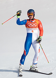18.02.2018, Yongpyong Alpine Centre, Pyeongchang, KOR, PyeongChang 2018, Ski Alpin, Herren, Riesenslalom, 2. Durchgang, im Bild Alexis Pinturault (FRA, 3. Platz) // bronce medalist Alexis Pinturault of France reacts after men's Alpine Giant Slalom Race of the Pyeongchang 2018 Winter Olympic Games at the Yongpyong Alpine Centre in Pyeongchang, South Korea on 2018/02/18. EXPA Pictures © 2018, PhotoCredit: EXPA/ Johann Groder