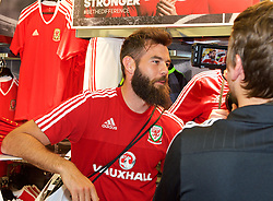 CARDIFF, WALES - Thursday, June 2, 2016: Wales' Joe Ledley during a visit to a JD Sports store in Llantrisant. (Pic by Ian Cook/Propaganda)