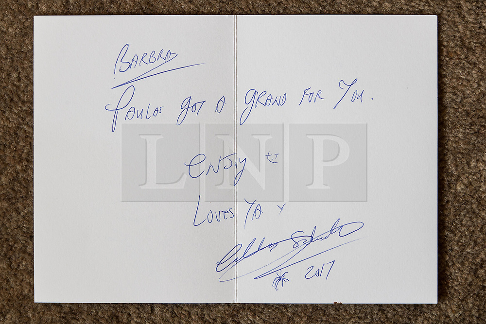 © Licensed to London News Pictures . 06/07/2017 . Manchester , UK . Card from Charles Salvador to Barbara Dransfield . Artwork by convicted criminal  Charles Salvador (previously Charles Bronson) has been sold on behalf of Salvador to raise a £1,000 to support Barbara and Len Dransfield . Barbara , who has become friendly with Salvador , was brought the money and a card by Salvador's fiance , Paula Wiliamson . Barbara Dransfield was brutally assaulted by masked robbers as she sat at home in her wheelchair . She suffered extensive injuries to her face and body . Photo credit : Joel Goodman/LNP
