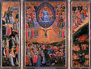 The Last Judgement'. Heaven, left, Hell, right. Christ sits in judgement in central panel. Fra Angelico (1400-1455) Florentine painter. Triptych. Tempera on board. Staatliche Museum, Berlin.