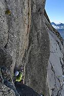 Ein Alpinist auf dem Klettersteig zur Oberen Bielenl&uuml;cke, Furka, Uri, Schweiz<br /> <br /> An alpinist on the via ferrata to the Obere Bielenl&uuml;cke, Furka, Uri, Switzerland