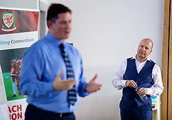 NEWPORT, WALES - Wednesday, April 25, 2018: FAW Chief-Executive Jonathan Ford looks on as Welsh Football Trust CEO Neil Ward gives a presentation during a UEFA Certificate in Football Management - Wales Edition at Dragon Park. (Pic by David Rawcliffe/Propaganda)