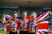 Silver medalist Erika KELLY, gold medalist Bethan DAVIES and bronze medalist Madeline SHOTT after the Women's 5000m Walk during the Muller British Athletics Championships at Alexander Stadium, Birmingham, United Kingdom on 25 August 2019.