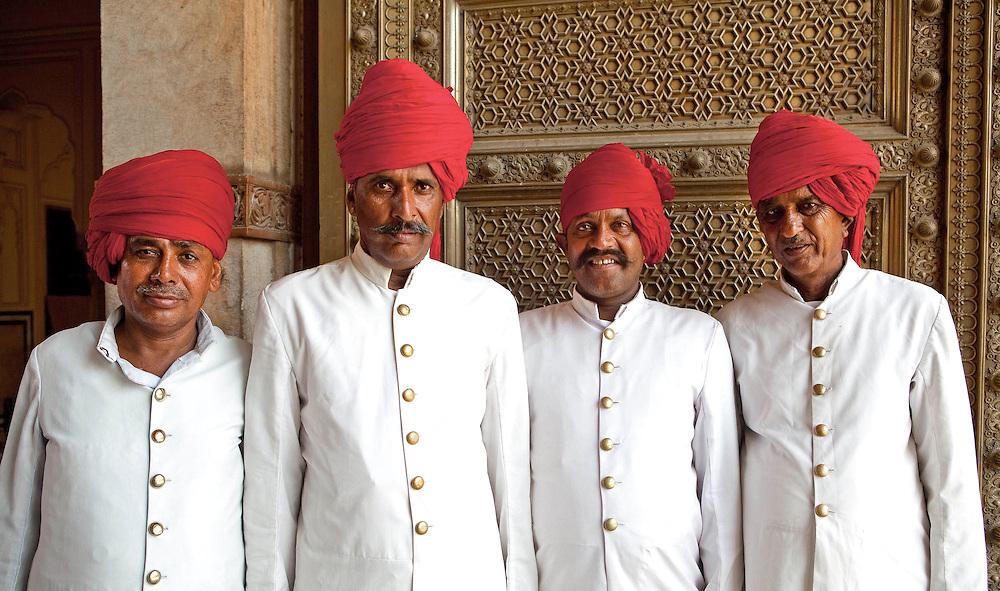 Indian men in red turbans, Jaipur, India