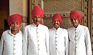 Indian men in red turbans, Jaipur, India