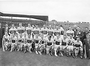 Neg No:.594/8096-8100,.5091954AISHCF,..05.09.1954, 09.05.1954, 5th September 1954,.All Ireland Senior Hurling Championship - Final,...Cork.1-9,..Wexford.1-6,..Kerry Team (runners up),..Back row (from left),.Martin Flood, Nicky Rackard, Bobbie Rackard, Jim Morrissey, Nick O'Donnell, Ted B, Mick O'Hanlon, C O'R, D Hearn, Front row (from left) Jim Russell, Robert Donavan, X, Art Foley, P Kehoe, Ned W, Paddy K, Billy Rackard, X Hearne, Tim Flood, John H,.