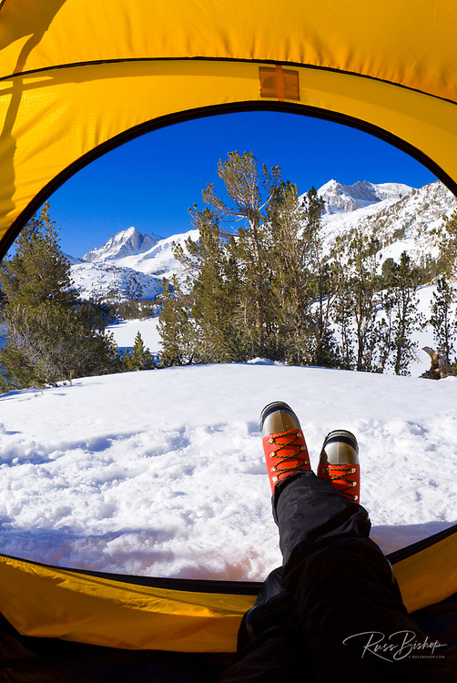 View from a yellow dome tent in winter, Little Lakes Valley, John Muir Wilderness, Sierra Nevada Mountains, California USA