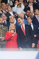 Cristina Cifuentes and King Felipe VI of Spain before La Liga match between Atletico de Madrid and Malaga CF at Wanda Metropolitano in Madrid, Spain September 16, 2017. (ALTERPHOTOS/Borja B.Hojas)