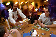 A family enjoying the food in Alton Towers Hotel Bar, Alton Towers, UK..Photo©Steve Forrest/Workers' Photos..