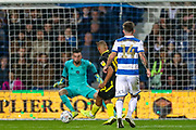 Brentford forward Bryan Mbuemo (19) shoots towards the goal during the EFL Sky Bet Championship match between Queens Park Rangers and Brentford at the Kiyan Prince Foundation Stadium, London, England on 28 October 2019.
