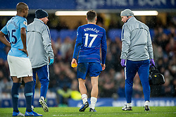 December 8, 2018 - London, Greater London, England - Mateo Kovacic of Chelsea leaves the pitch due to an injury during the Premier League match between Chelsea and Manchester City at Stamford Bridge, London, England on 8 December 2018. (Credit Image: © AFP7 via ZUMA Wire)