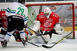 Anze Ropret of Olimpija vs Zan Us of Jesenice at friendly hockey match between HDD SIJ Acroni Jesenice and HDD Olimpija, on September 9, 2016 in Podmezaklja, Jesenice, Slovenia. Photo by Matic Klansek Velej / Sportida