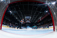KELOWNA, CANADA - MARCH 31: Referee Chris Crich skates past the net at the Kelowna Rockets against the Kamloops Blazers on March 31, 2017 at Prospera Place in Kelowna, British Columbia, Canada.  (Photo by Marissa Baecker/Shoot the Breeze)  *** Local Caption ***