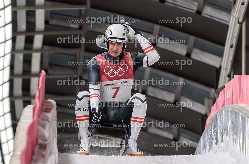 11.02.2018, Olympic Sliding Centre, Pyeongchang, KOR, PyeongChang 2018, Rodeln, Herren, 3. Lauf, im Bild Reinhard Egger (AUT) // Reinhard Egger of Austria during the Men's Luge Singles Run 3 competition at the Olympic Sliding Centre in Pyeongchang, South Korea on 2018/02/11. EXPA Pictures © 2018, PhotoCredit: EXPA/ Johann Groder