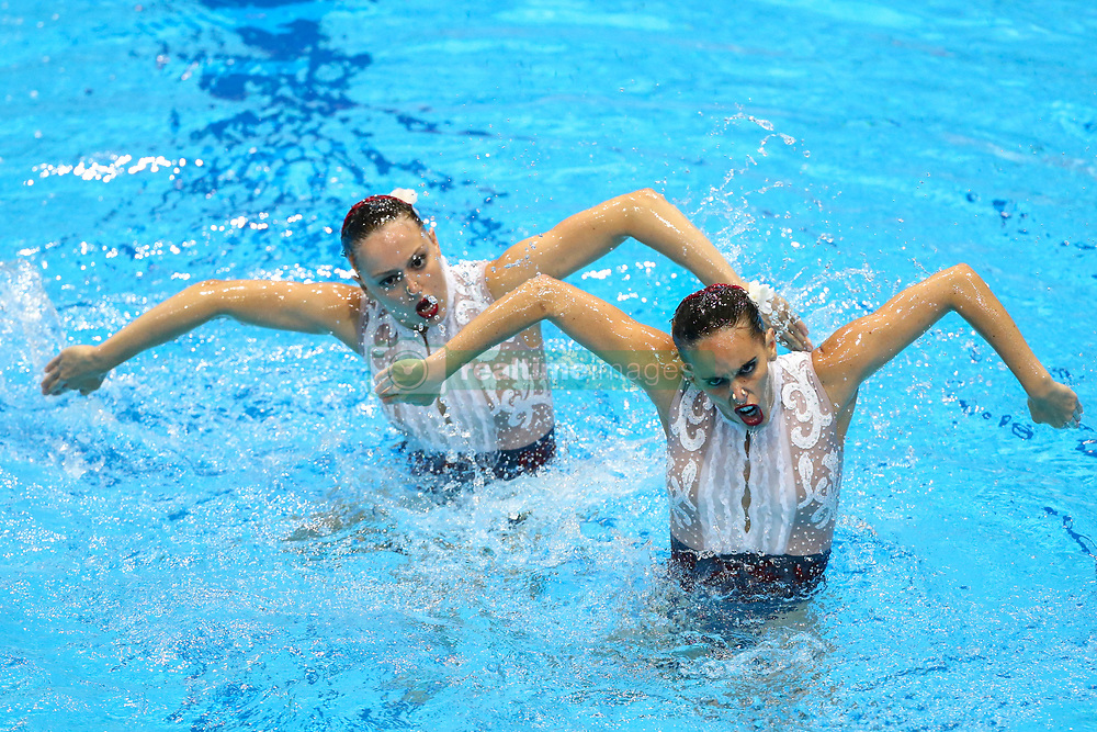 """May 10, 2019 - Saint Petersburg, Russia - The Spain team compete in the Duet Free Preliminary during of the European Artistic """"Synchronised"""" Swimming Champions Cup 2019 on May 10, 2019, in St.Petersburg, Russia  (Credit Image: © Igor Russak/NurPhoto via ZUMA Press)"""