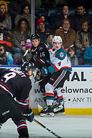 KELOWNA, CANADA - FEBRUARY 14:  Gordie Ballhorn #4 of the Kelowna Rockets back checks Grayson Pawlenchuk #16 of the Red Deer Rebels on February 14, 2018 at Prospera Place in Kelowna, British Columbia, Canada.  (Photo by Marissa Baecker/Shoot the Breeze)  *** Local Caption ***