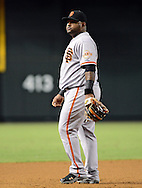 Sep. 15, 2012; Phoenix, AZ, USA; San Francisco Giants infielder Pablo Sandoval (48) reacts during the game against the Arizona Diamondbacks at Chase Field. Mandatory Credit: Jennifer Stewart-US PRESSWIRE