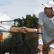 Brian Cheney, USA, in action against Spain in the Von Cramm Cup Final during the 2009 ITF Super-Seniors World Team and Individual Championships at Perth, Western Australia, between 2-15th November, 2009.
