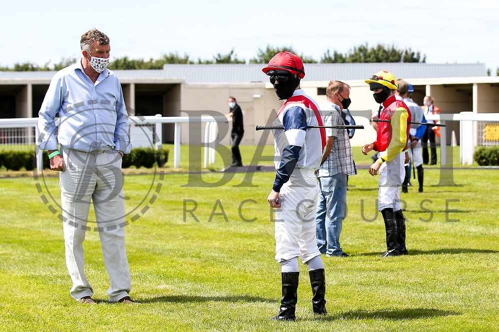 Jockey's and Trainers in the parade ring - Mandatory by-line: Robbie Stephenson/JMP - 22/07/2020 - HORSE RACING - Bath Racecoure - Bath, England - Bath Races