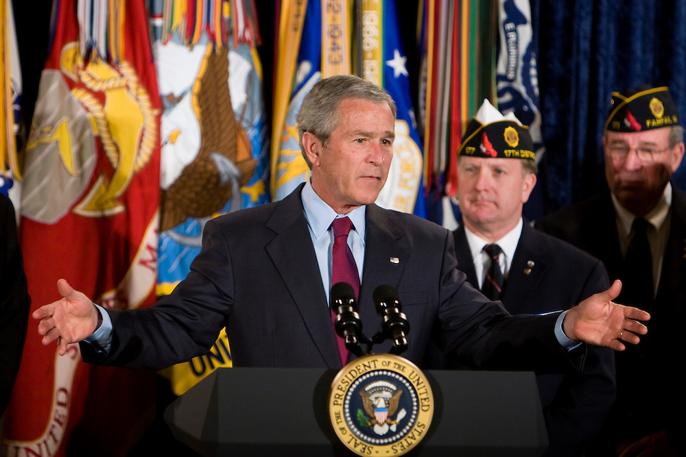 President Bush discusses the supplemental budget request for the war in Iraq during an address to the American Legion in Fairfax, VA, on Tuesday, Apr. 10, 2007.