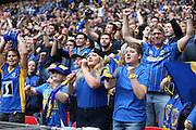 AFC Wimbledon fans celebrating promotion at the end of the Sky Bet League 2 play off final match between AFC Wimbledon and Plymouth Argyle at Wembley Stadium, London, England on 30 May 2016.