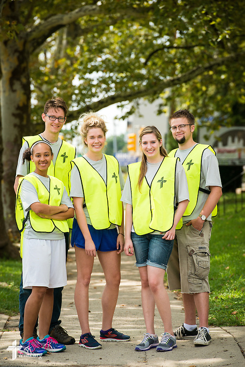 Participants in the 2014 Youth Corps pilot project stand for a portrait in LCMS Disaster Response vests at Shepherd of the City Lutheran Church on Wednesday, August 13, 2014, in Philadelphia, Pa. LCMS Communications/Erik M. Lunsford