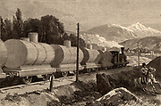 A train of tankers carrying oil from the Nobel Brothers oil wells at Baku (Baky or Baki), Azerbaijan, for distribution in Russia. Engraving from 'The Illustrated London News' (London, 10 July 1886).