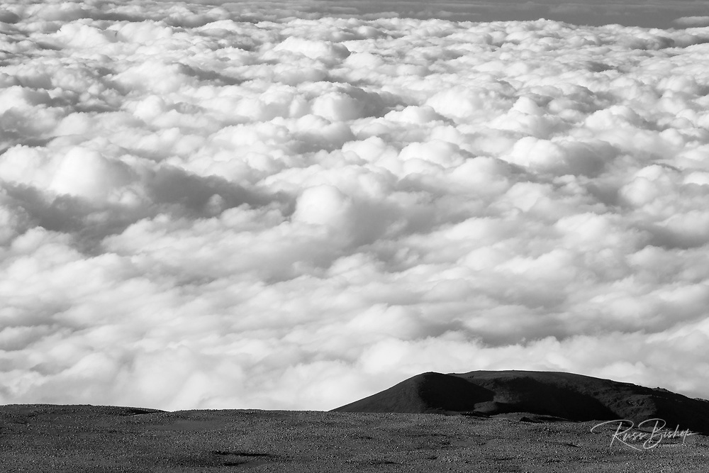 A sea of clouds below the summit of Mauna Kea, The Big Island, Hawaii USA