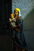 Israel, Ayalon Valley, the statue of Mary with baby Jesus at the Latrun Trappist Monastery. founded in In the year 1887 by French monks of the Trappist order. The monks established a successful vineyard and today produce a variety of wines.
