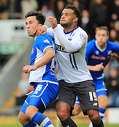 Tom Soares, John O'Sullivan during the The FA Cup match between Rochdale and Bury at Spotland, Rochdale, England on 6 December 2015. Photo by Daniel Youngs.