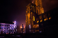 Strasbourg, France - November 14 , 2014: A group of friends gather at Notre Dame de Strasbourg, the cities iconic medieval cathedral. The towering Gothic cathedral was builit in the Middle Ages and was the world's tallest building for 227 years. CREDIT: Chris Carmichael for the New York Times