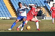 Bury Midfielder, Neil Danns (31) and Bury Forward, Harry Bunn (33)  during the EFL Sky Bet League 1 match between Bury and Gillingham at the JD Stadium, Bury, England on 24 February 2018. Picture by Mark Pollitt.