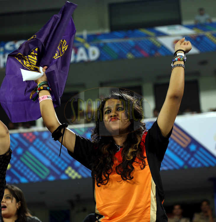 Fan's Enjoys during match 7 of the Oppo Champions League Twenty20 between the Kolkata Knight Riders and the Lahore Lions held at the Rajiv Gandhi Cricket Stadium, Hyderabad, India on the 21st September 2014<br /> <br /> Photo by:  Sandeep Shetty / Sportzpics/ CLT20<br /> <br /> <br /> Image use is subject to the terms and conditions as laid out by the BCCI/ CLT20.  The terms and conditions can be downloaded here:<br /> <br /> http://sportzpics.photoshelter.com/gallery/CLT20-Image-Terms-and-Conditions-2014/G0000IfNJn535VPU/C0000QhhKadWcjYs