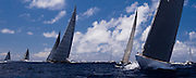 Ranger, Hanuman, Lionheart, Velsheda, and Rainbow, J Class, sailing in the St. Barth's Bucket Regatta, day one.