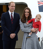 The Duke and Duchess of Cambridge depart Canberra and Australia, ending their tour of New Zealand and Australia at Defence Establishment Fairbairn, Canberra, Australia, on the 25th April 2014.