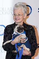 "Battersea, London, November 3rd 2016.  Celebrities and their dogs attend The Evolution at Battersea Park to attend The Battersea Dogs and Cats Home ""Collars and Coats Ball"". PICTURED: Dame Jacqueline Wilson"