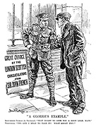 """""""A Glorious Example."""" Able-bodied Civilian (to Territorial). """"That ought to give you a good lead, mate."""" Territorial. """"Yes - and I mean to take it! What about YOU?"""""""