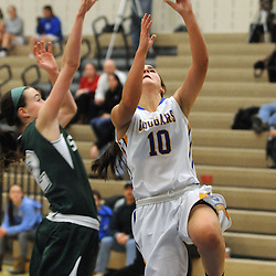 Staff photos by Tom Kelly IV<br /> East's Aryah Aungst (10) goes up for a layup against Shanahan's Annie Briglia (2) during the Bishop Shanahan at Downingtown East girls basketball game, Thursday night December 18, 2013.