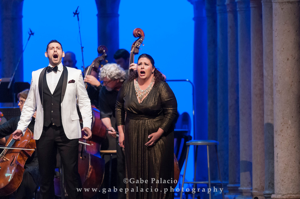 Angela Meade, soprano, and Michele Angelini, tenor, perform Lucrezia Borgia by Gaetano Donizetti in the  Venetian Theater at Caramoor in Katonah New York on July 12, 2014. <br /> (photo by Gabe Palacio)