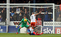 Kyle Vassell of Blackpool scores his sides opening goal of the game - Mandatory by-line: Joe Dent/JMP - 18/11/2017 - FOOTBALL - ABAX Stadium - Peterborough, England - Peterborough United v Blackpool - Sky Bet League One