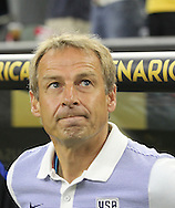 HOUSTON, TEXAS - JUNE 21: United States Manager         Jurgen Klinsmann looks up before the Semifinal match between Argentina and US at NRG Stadium as part of Copa America Centenario US 2016 on June 21, 2016 in Houston, Texas, US. Argentina won 4 to 0. (Photo by Thomas B. Shea/LatinContent/Getty Images)