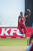 sheldon Cottrel , West Indies during the 2015 KFC T20 International Series cricket match between South Africa and West Indies at the Kingsmead Stadium in Durban on the 14th of January 2015<br /> <br /> ©Sabelo Mngoma/BackpagePix