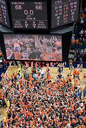 Virginia students rush the court as The University of Virginia Cavaliers beat the #8 ranked Duke University Blue Devils 68-66 in overtime at the John Paul Jones Arena in Charlottesville, VA on February 1, 2007...
