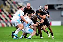 Lloyd Fairbrother of Dragons is tackled by Johnny Matthews of Glasgow Warriors Dragons vs Glasgow Warriors - Ryan Hiscott/JMP - 25/10/19 - SPORT - Rodney Parade - Newport, Wales -