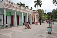 Pedestrian street in Jiguani, Granma, Cuba.