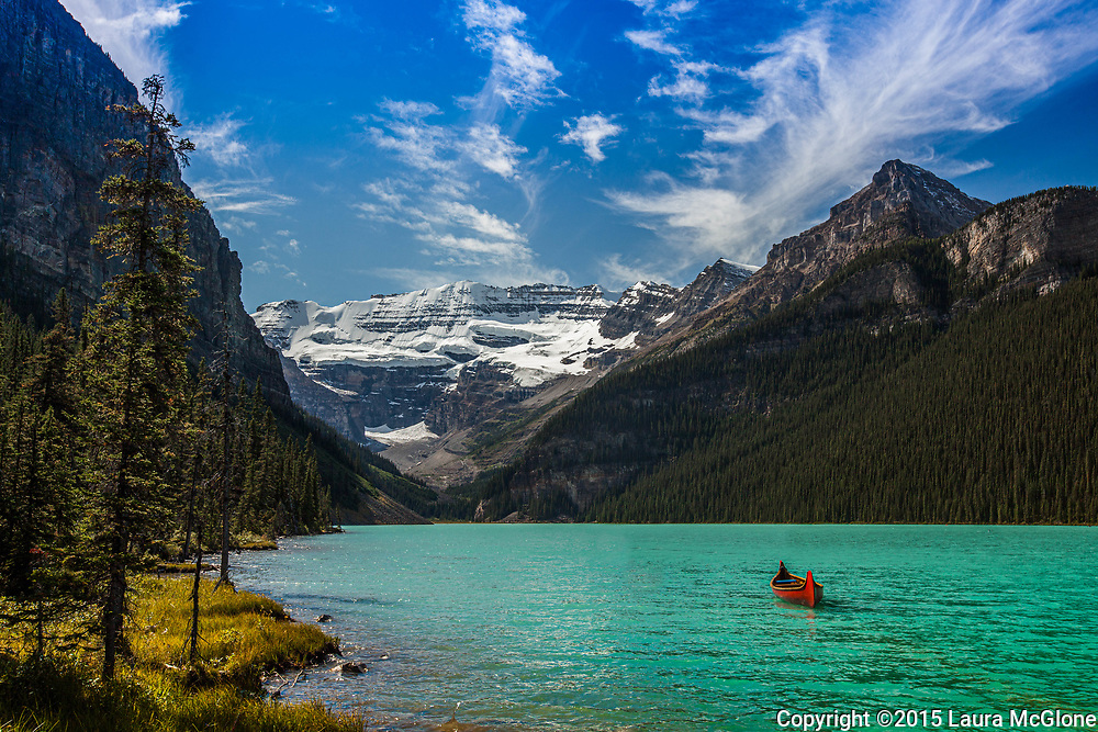Lake Louise with One Red Canoe, Alberta Canada